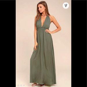 NWT Lulu's Olive Green Halter Backless Maxi Dress
